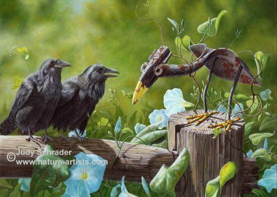 Oil Painting of an a couple ravens and an old shovel crow by Judy Schrader