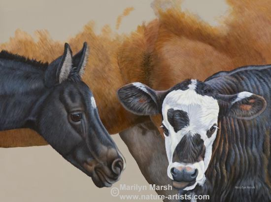 Original Acrylic Painting of a colt and calf standing by a mare, painted by Marilyn Marsh