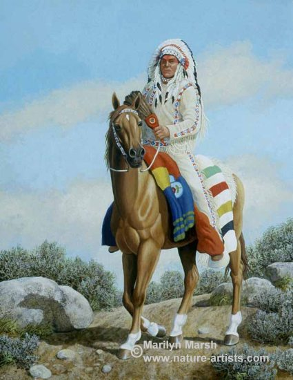 Acrylic Painting titled I Come in Peace, an Indian with his horse by Marilyn Marsh