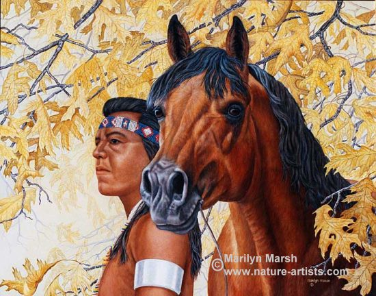 Acrylic Painting titled Challengers, an Indian and his horse painted by Marilyn Marsh
