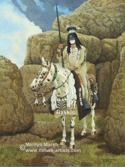 Acrylic Painting titled Days of Thunder, an Indian with his horse by Marilyn Marsh
