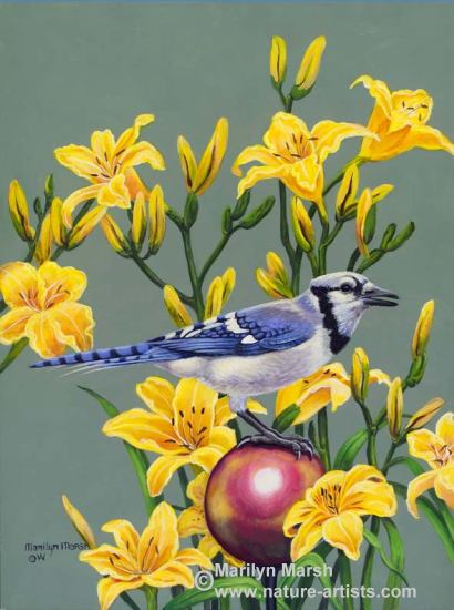 Acrylic Painting of a Bluejay on a gazing ball and lilies by Marilyn Marsh