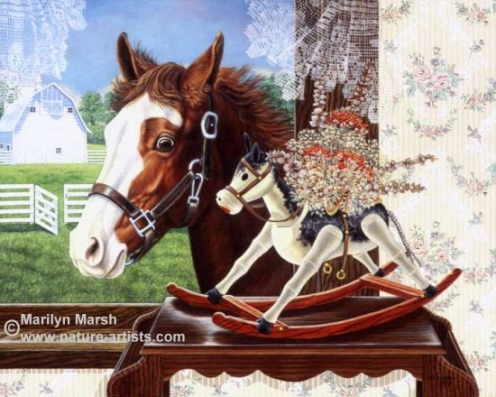 Acrylic Painting of a colt looking at a rocking horse by Marilyn Marsh
