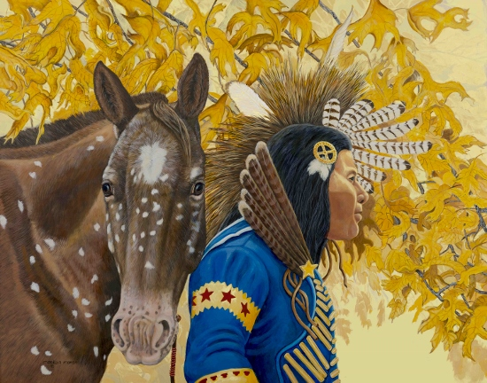 Acrylic Painting of an Indian and his horse by Marilyn Marsh