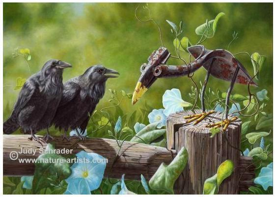 Oil Painting of two crows with a shovel crow by Judy Schrader