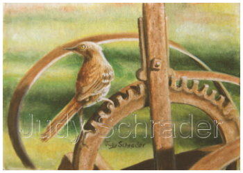Miniature Painting,Oil Painting of a thrasher on farm machinery by Judy Schrader