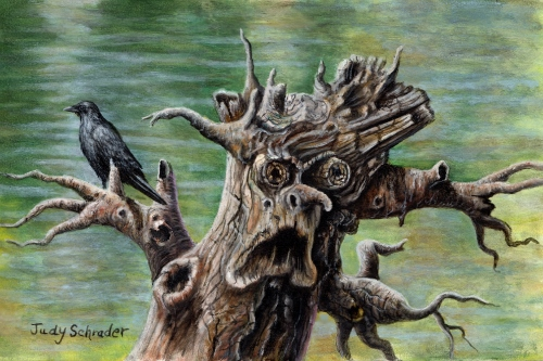 Miniature Art, Oil Painting of a haunted tree and crow by Judy Schrader